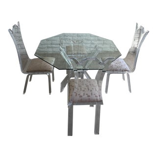 Vintage Lion in Frost Style Lucite Dining Set For Sale