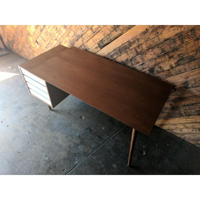 Custom Large Mid Century Style Walnut Desk For Sale - Image 5 of 11