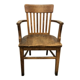Vintage Solid Wood Banker Office Chair For Sale