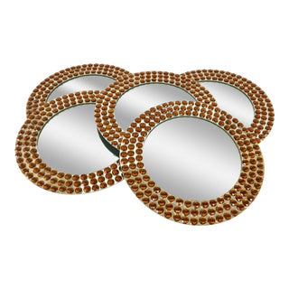 Contemporary Mirrored & Rhinestoned Chargers - Set of 5 For Sale