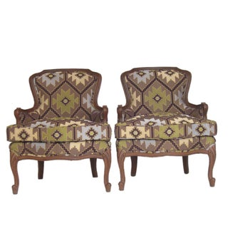 Vintage Tapestry Upholstery Bergeres - A Pair For Sale