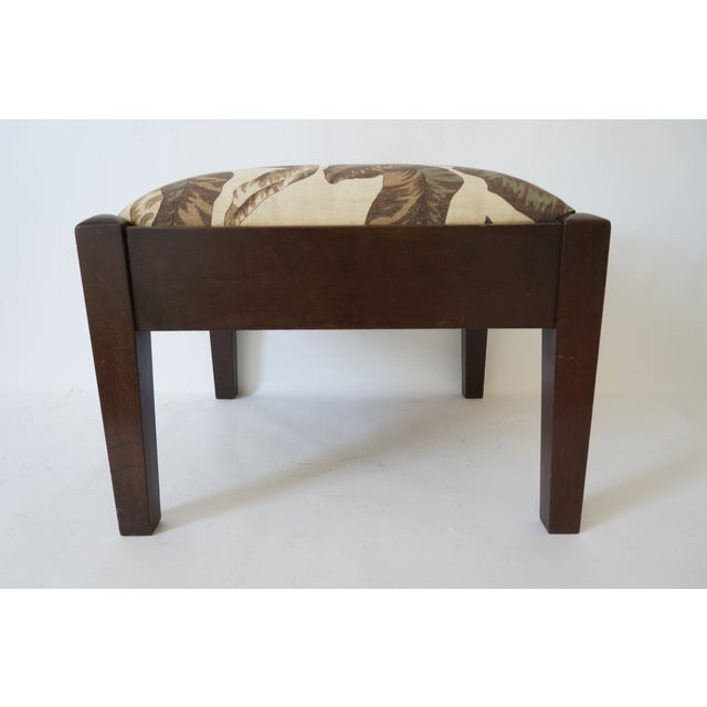 1950s Mid-Century Footstool Low Bench Mahogany With Palm Frond Motif Upholstery For Sale - Image 5 of 12