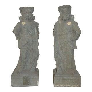 19th Century Indian Hand-Carved Grey Stone Soldier Temple Sculptures - A Pair For Sale