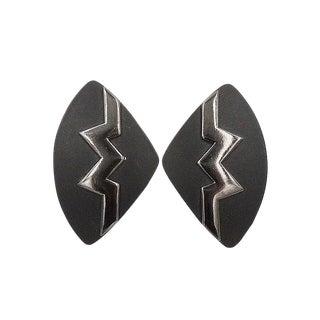 1980s Monet Black Lucite Modernist Earrings For Sale