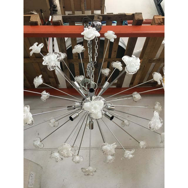 """Metal frame Kromo. Flowers Murano white and transparent. diameter 105 cm = 39,3"""" used like new only one ...unique..."""