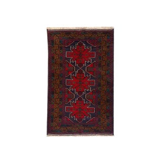 Traditional Hand Knotted Navy, Purple, Brown, Red and Emerald Green Baluchi Rug - 3′10″ × 6′9″ For Sale
