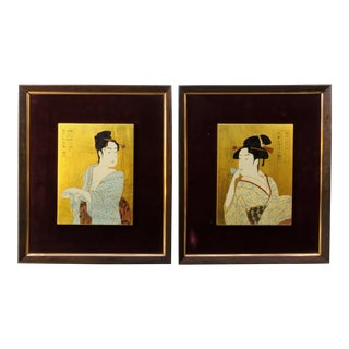 Japanese Framed Geisha Prints - a Pair For Sale