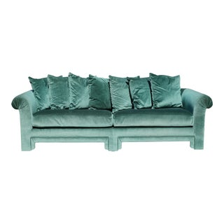 Drexel Green Velvet Pillow Back Sofa With Asian-Inspired Legs