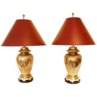 Elegant Vintage Brass Asian Style Ginger Jar Lamps - a Pair