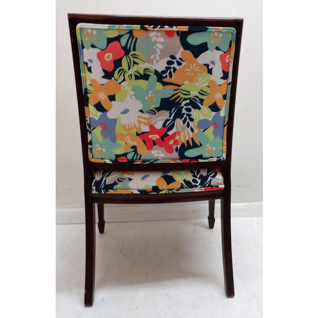 Colorful Upholstery Bold Accent Side Arm Chair For Sale In West Palm - Image 6 of 7