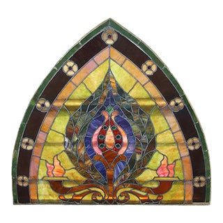 Circa 1900 Beaux Arts Style Multicolored Stained Glass Window For Sale