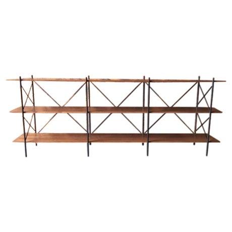 Custom Handmade Iron & Walnut Shelf - Image 1 of 5