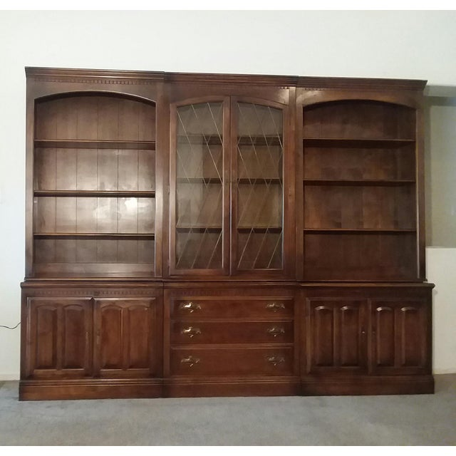 Brass 1960s Ethan Allen 6 Piece Bookcase Wall Unit For Sale - Image 7 of 9