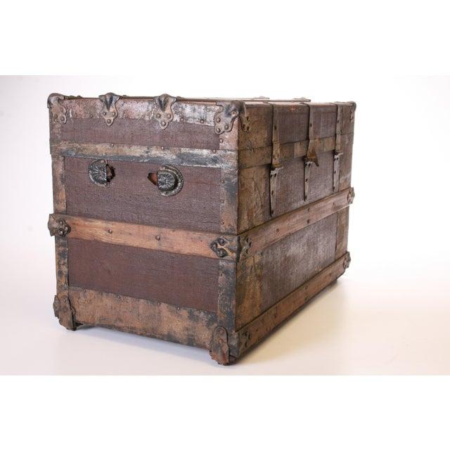 Victorian Wood & Metal Flat Top Brown Steamer Trunk - Image 4 of 11