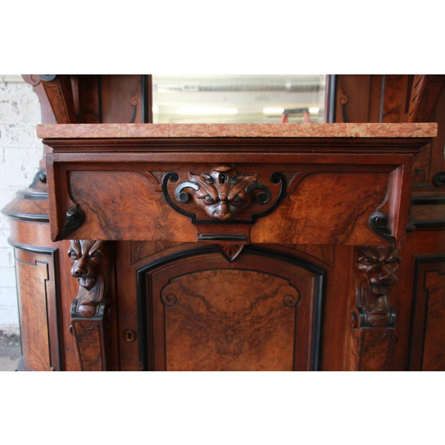 Monumental 19th Century Victorian Ornate Carved Burled Walnut Sideboard For Sale - Image 11 of 13