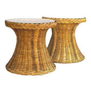 1970s Round Braided Willow & Rattan End Tables - a Pair For Sale