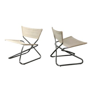 1960s Erik Magnussen Chrome Sling Z Down Chairs - a Pair For Sale