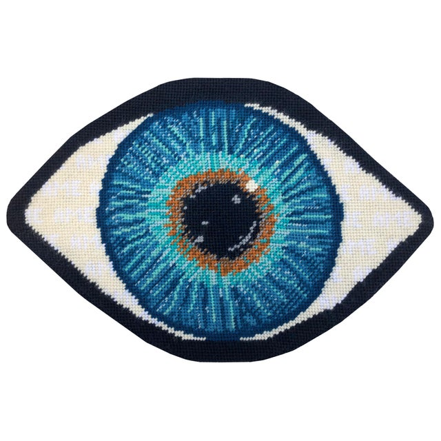 "Contemporary ""Emerson"" Blue Eye Sculpted Pillows - a Pair, Original Textile Art For Sale - Image 3 of 12"
