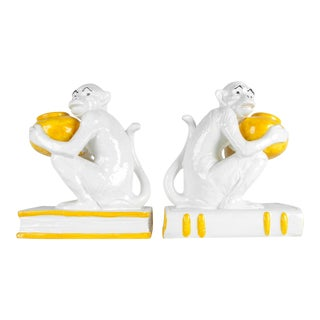 Pair of Italian Royal Porcelain Monkeys Bookends For Sale