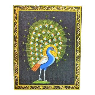 Vintage Mini Folk Art Peacock Painting For Sale