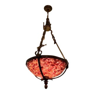 Rare Maitland-Smith Brass Empire Style Chandelier With Penshell Inlaid Bowl​ For Sale