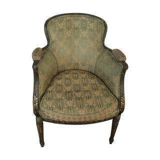 Green Silk French-Style Bergère