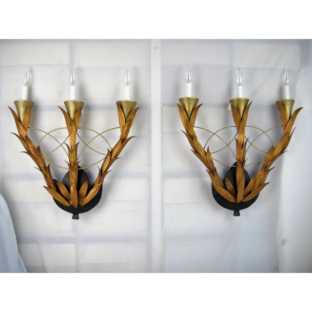 Black Laurel Leaf Electric Wall Sconces, Pair For Sale - Image 8 of 8