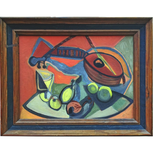 Vintage Cubist Still Life with Lute - Image 1 of 4