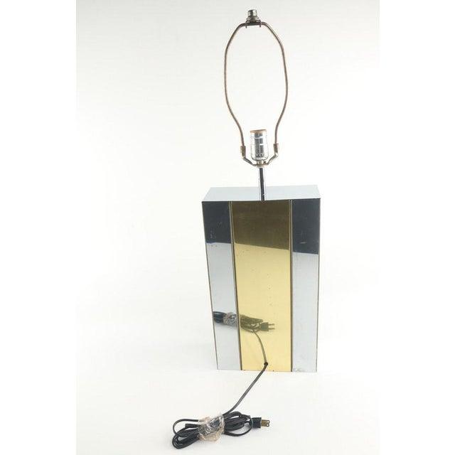 Robert Sonneman Vintage Authentic Robert Sonneman Chrome and Brass Table Lamp For Sale - Image 4 of 6