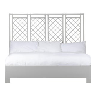 X & Diamond Bed King - Light Gray For Sale