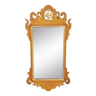 Antique Chippendale Tiger Maple Mirror For Sale