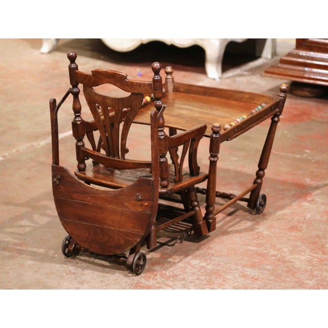 Mid-20th Century French Carved Folding Up and Down Child High Chair on Wheels For Sale - Image 12 of 13