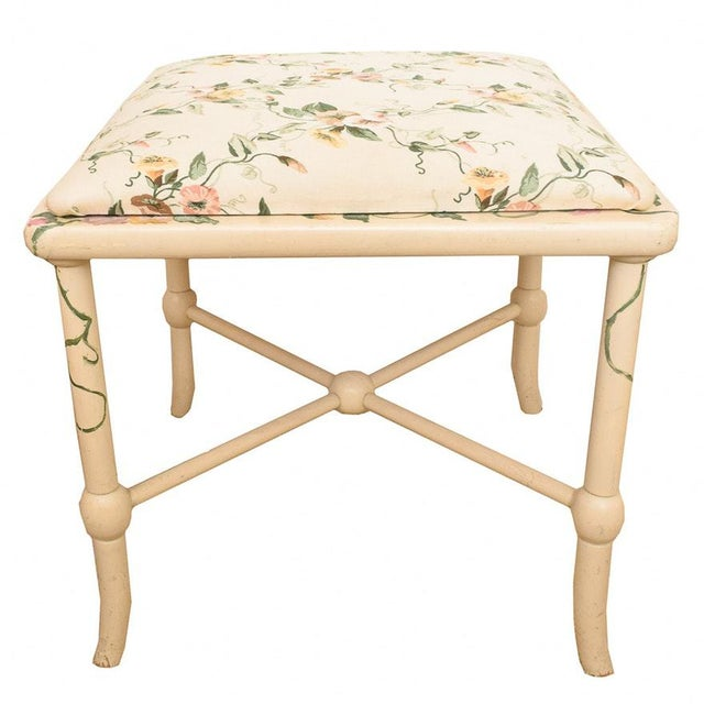 2000's Vintage Style Freehand Painted Wooden Vanity Bench in Vanilla White For Sale In Palm Springs - Image 6 of 6