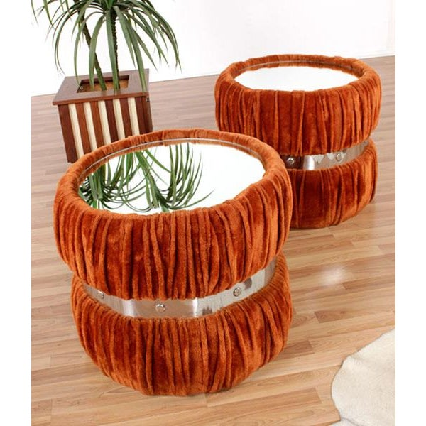 Vintage Fuzzy Orange Mirrored End Tables - Pair - Image 2 of 6