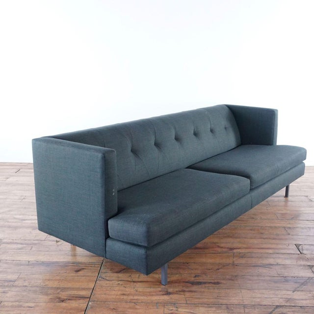 Cb2 Mid-Century Modern Style Gray Upholstered Two-Cushion Sofa