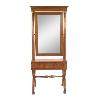 Biedermeier Cherrywood Cheval Mirror For Sale