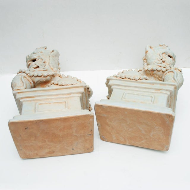 20th Century Large Chinese Celadon Foo Lions - a Pair For Sale - Image 12 of 13