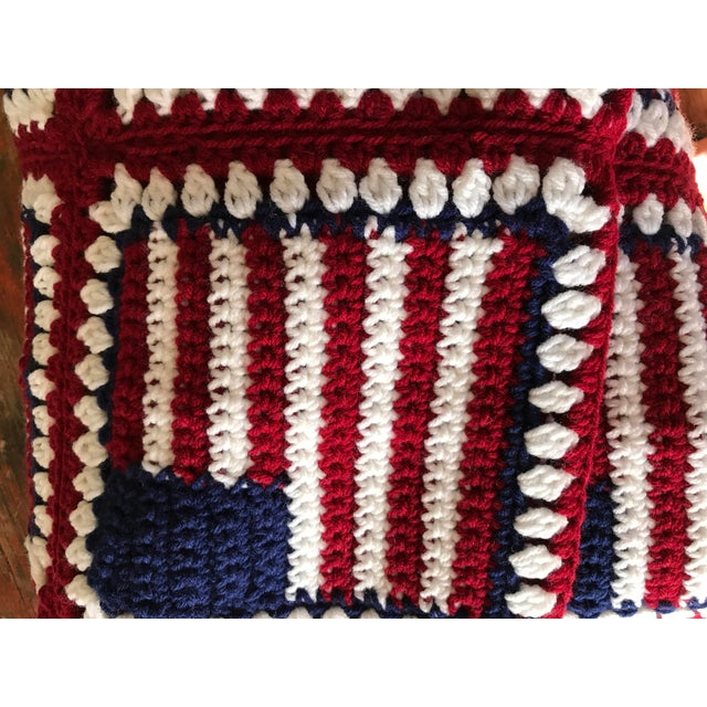 """American Flag Handmade Throw Blanket - 48"""" x 64"""" For Sale In Los Angeles - Image 6 of 7"""