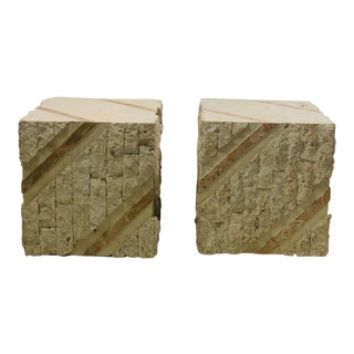 Contemporary Tessellated Stone Cubes - a Pair For Sale