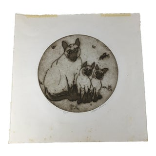 3 Siamese Cats Artist Signed Limited Edition Round Print For Sale