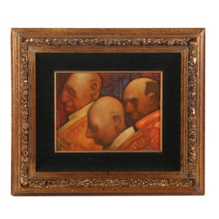 """Original """"Three Heads"""" Oil Painting Signed Charles Bragg For Sale"""
