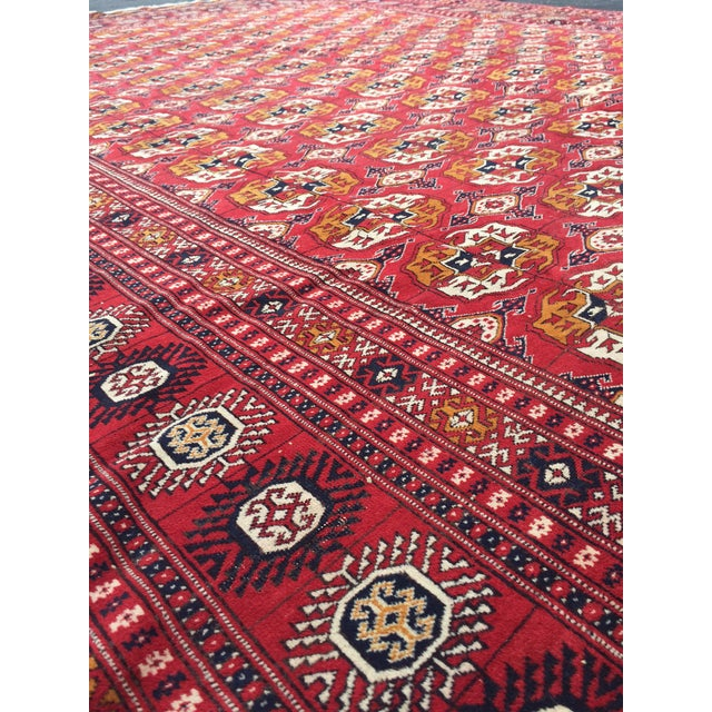 Textile Antique Tribal Turkoman Bohkara Hand Knotted Wool Area Rug - 9′5″ × 12′8″ For Sale - Image 7 of 10