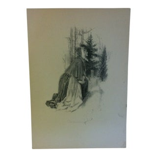 """Vintage Miles Standish Print, """"Looking"""" by Howard Christy - 1903 For Sale"""