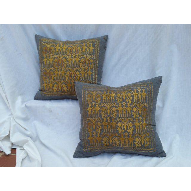 Silk on Wool Tribal Pillows - Pair - Image 2 of 5
