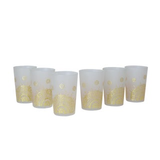 Gold Moroccan Tea Glasses - Set of 6 For Sale