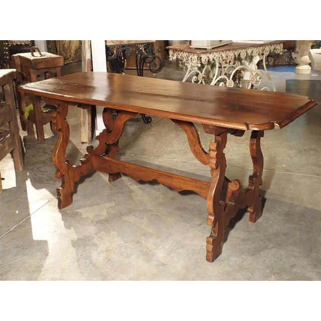 19th Century Tuscan Walnut Table With Shaped Wooden Stretchers For Sale - Image 11 of 13