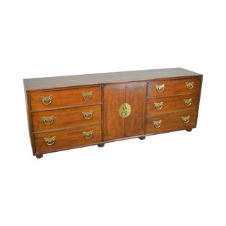 "Henredon Folio Eleven 80"" Long Mahogany Asian Inspired Dresser W/ Butterfly Hardware For Sale"