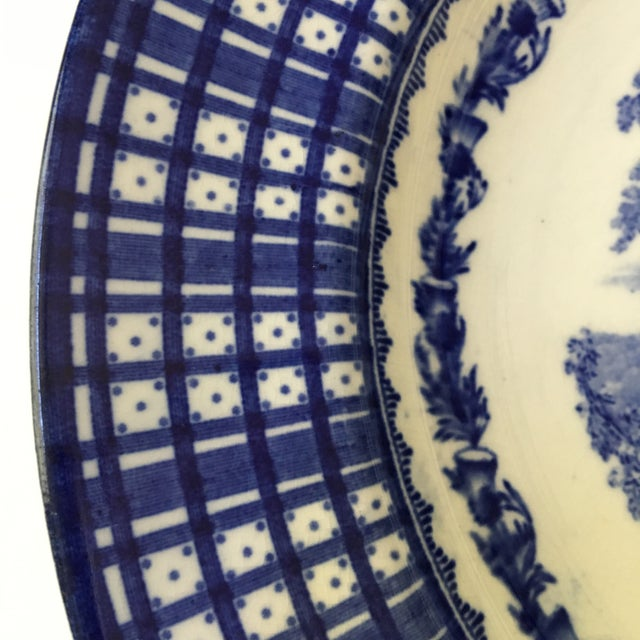 Cauldon Antique Blue Rimmed Bowls in Breadalbane Pattern - Made in Cauldon, England - Set of Three For Sale - Image 4 of 12