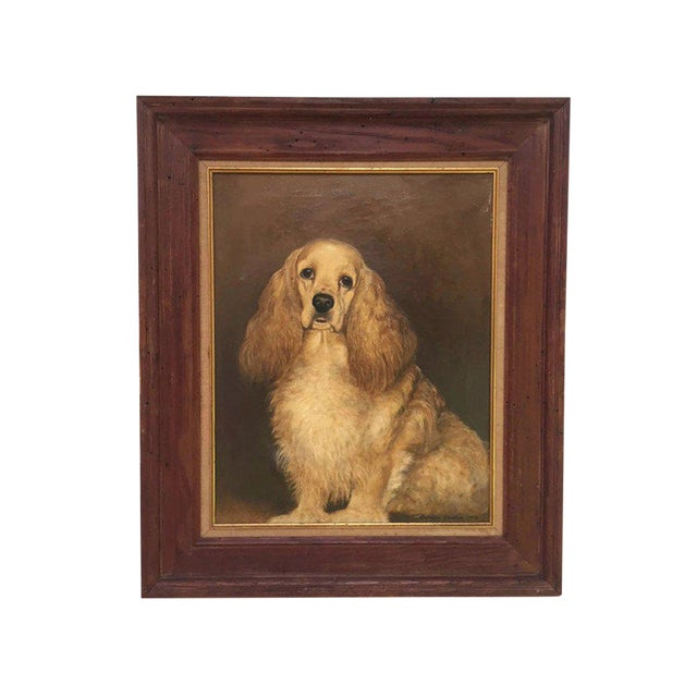 Vintage Mid-Century Cocker Spaniel Portrait Oil Painting For Sale