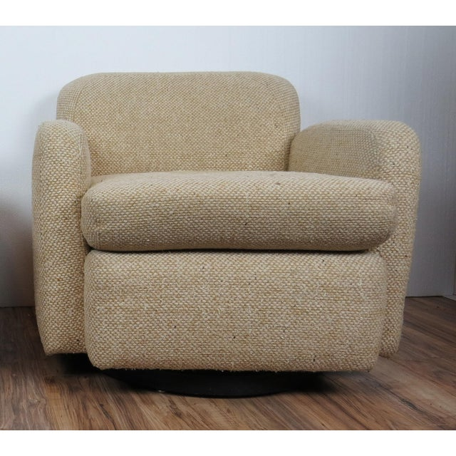Wood 1970s Mid-Century Modern Wool Tweed Swivel Chairs by Preview - a Pair For Sale - Image 7 of 13